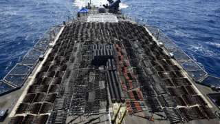 Thousands of illicit weapons seized by guided-missile cruiser USS Monterey