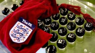 FA Cup draw balls and bag