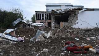 A house destroyed by shelling in Stepanakert, Nagorno-Karabakh