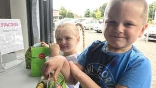 Children with lunch box