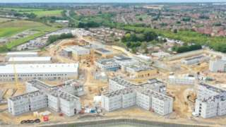An aerial image of work progressing on the new prison