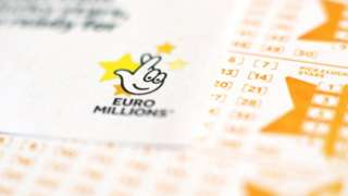A close up of a EuroMillions ticket