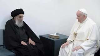 Grand Ayatollah Ali al-Sistani (left) with Pope Francis in Najaf, Iraq, 6 March