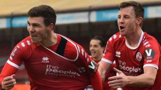 Crawley Town celebrate scoring against Leeds