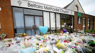 Flowers and tributes at the scene near Belfairs Methodist Church