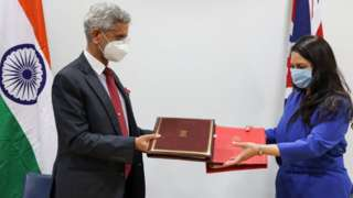 Priti Patel meeting the Indian foreign minister