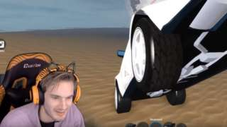 PewDiePie playing Roblox. He is in his gaming chair, wearing matching headphones, with the game playing in the background.
