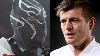 Split screen. Left: Pierre-Emerick Aubameyang wearing mask. Right: Toni Kroos