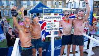 The Ancient Mariners celebrate in Antigua
