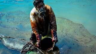 ผู้ชายคนหนึ่งตักน้ำมันที่รั่วไหลออกมาจากเรือเอ็มวี วากาชิโอ เมื่อวันที่ 8 ส.ค.