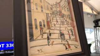 LS Lowry's The Street With Many Steps for auction in Douglas