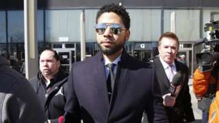 Jussie Smollet leaves the courthouse