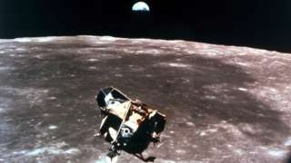 The Apollo 11 lunar module on its approach to the Moon in 1969