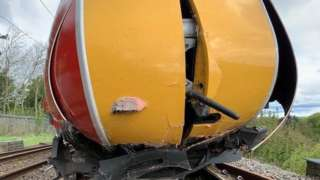 Damaged front of the train