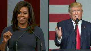 Michelle Obama and Donald Trump give speeches