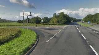 A40 at Llangynog junction, Carmarthenshire