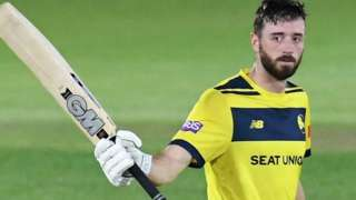 James Vince reaches 100 for Hampshire against Sussex