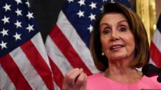 US House Minority leader Nancy Pelosi speaks during a press conference
