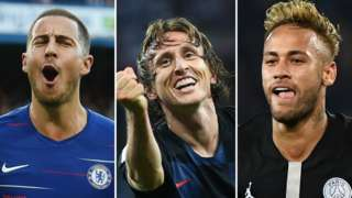 Eden Hazard, Luka Modric and Neymar
