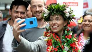 Jacinda Ardern campaigning ahead of the 2020 election