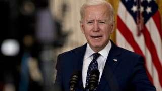 US President Joe Biden speaks in the East Room of the White House in Washington, DC, USA, on 15 April 2021.