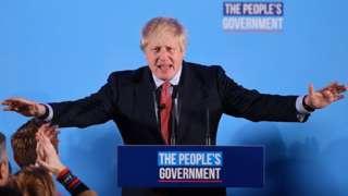 Boris Johnson delivering his victory speech
