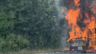 Bus fire on A12