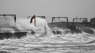Large waves crash into the harbour at Saltcoats, Ayrshire. Picture taken by Weather Watcher Sylvan.