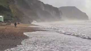 Fossil seekers filmed at Charmouth following the storm