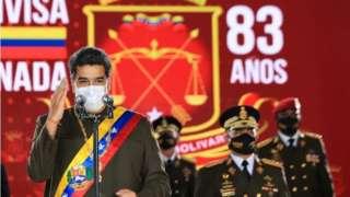 "Venezuela's President Nicolas Maduro speaks during Venezuela""s Bolivarian National Guard anniversary ceremony, amid the outbreak of the coronavirus disease (COVID-19), in Caracas, Venezuela August 4, 2020"