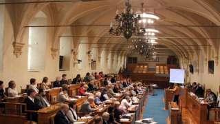 Зал заседаний сената, верхней палаты чешского парламента