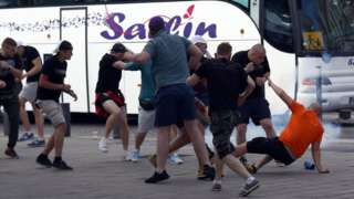 Football fans involved in a scuffle in Marseilles