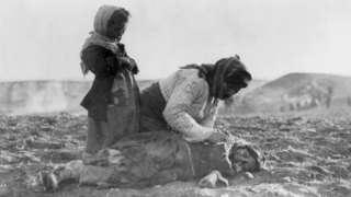 Armenian woman with her dead child near Aleppo, 1 Jan 1915