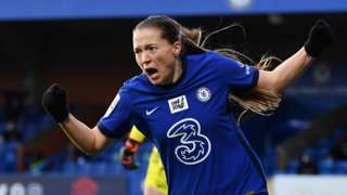 Chelsea forward Fran Kirby celebrates her goal against Manchester United Women