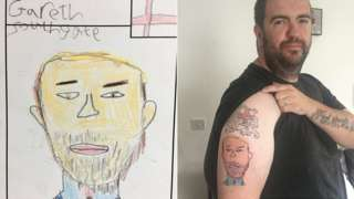 Gareth Southgate drawing and Jeff Holt