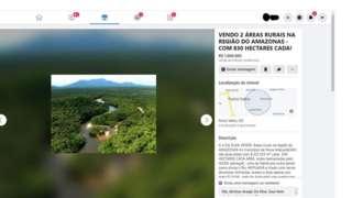 Anúncio no Facebook oferece lotes dentro da Floresta Nacional do Aripuanã