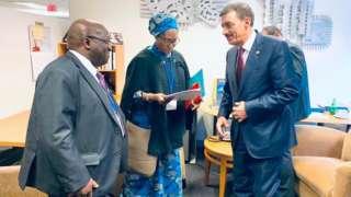 Nigeria Minister of Finance, Budget & National Planning Zainab Shamsuna Ahmed dey do meeting with Dr. Bandar M. H. Hajjar President, Islamic Development Bank for f IMF/ World Annual Meetings.