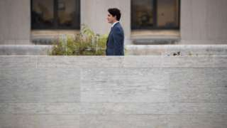 Prime Minister of Canada Justin Trudeau departs a press availability at the Canadian Embassy in Washington