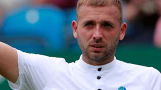 Dan Evans celebrates his win over Radu Albot