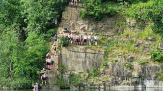 Young people at Appley Bridge quarry lake