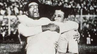 Uruguay celebrate winning the 1930 World Cup