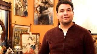 Mohsen Souli in his antiques shop in Finnieston