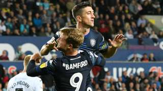 Leeds midfielder Pablo Hernandez is congratulated after equalising at Swansea