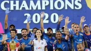 Mumbai Indians celebrate winning the IPL