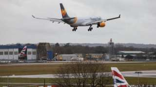 Flight arrives at Gatwick Airport