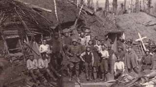 A wartime picture of the German soldiers outside the tunnel at Winterberg