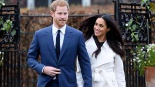 Prince Harry and Meghan Markle at Kensington Palace after announcing their engagement on 27 November 2017