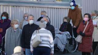 People queuing for vaccine in Newcastle