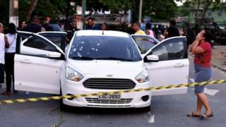 A view of a car which received over 80 shoots from members of the Brazilian Army, in Rio de Janeiro, Brazil, 08 April 2019. Ten soldiers involved in the killing of a civilian were arrested after they shot the vehicle which was being driven with the members of a family inside.