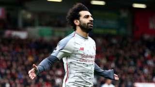 Mo Salah celebrates hat-trick